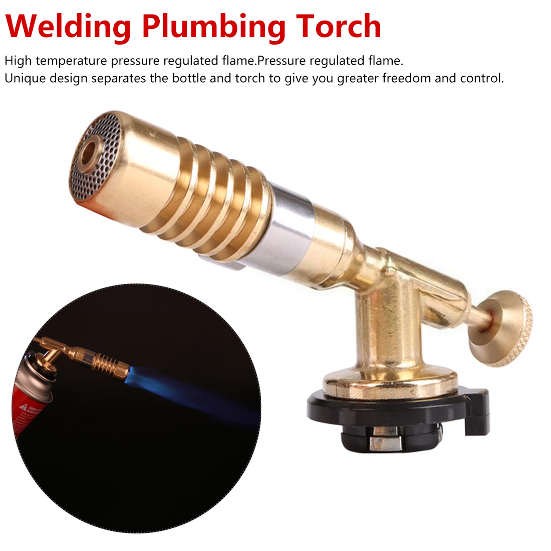 1300 C Flame Adjustable Temperature Brass Gas Turbo Torch Aluminum Brazing Propane Weld Plumbing