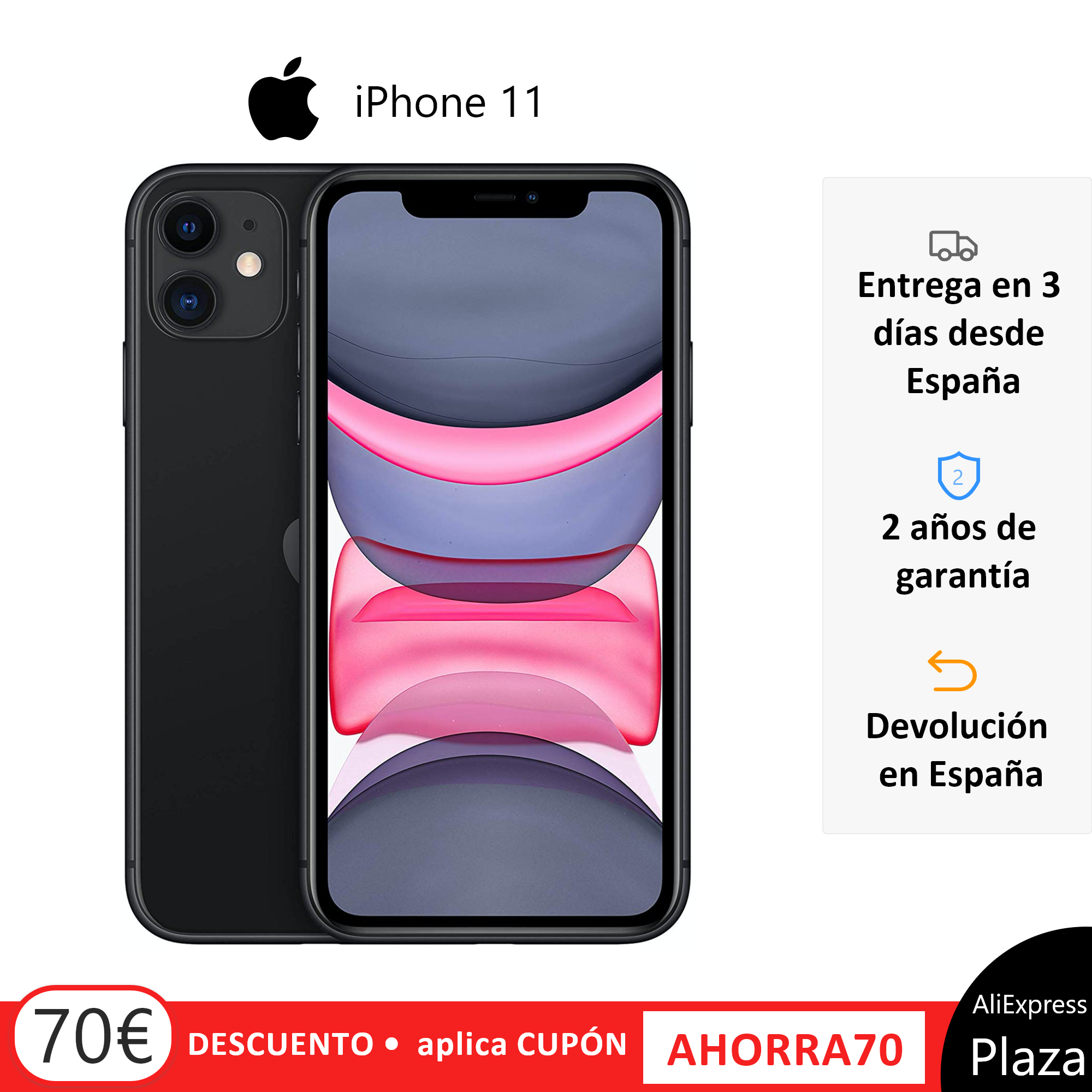 Apple iPhone 11 <font><b>Smartphone</b></font> (64 GB ROM, 4 GB <font><b>RAM</b></font>, Black Color, 12 MP Rear Camera, 12 MP Selfie Camera, 6.1
