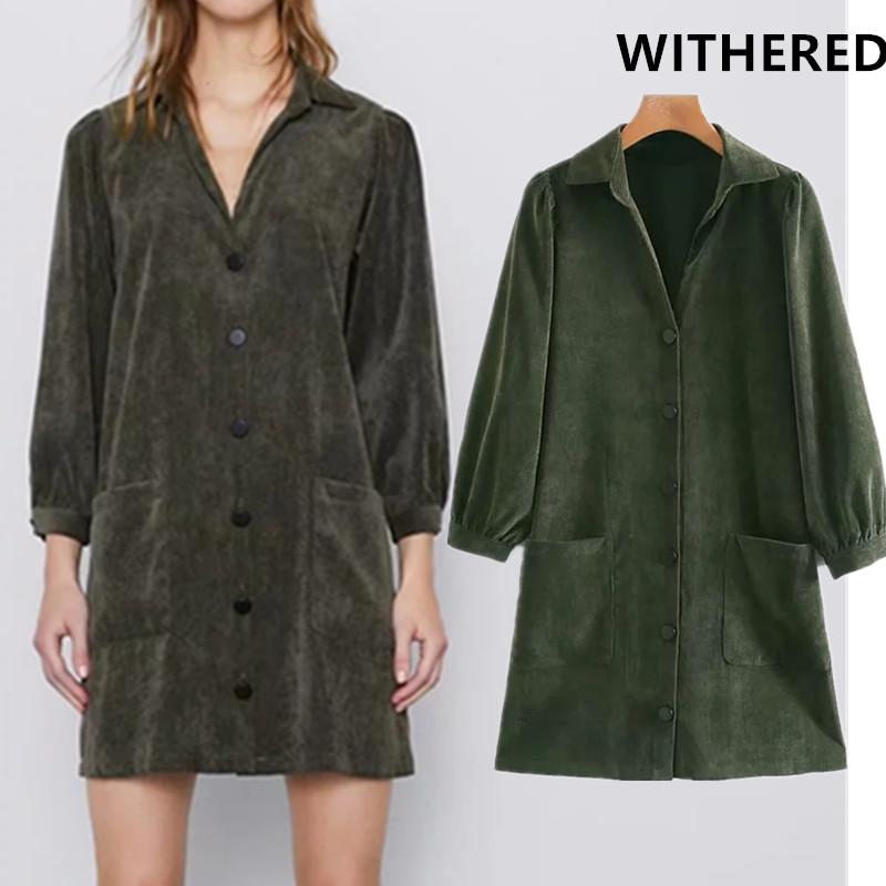 Withered 2019 England Style Vintage Corduroy Single Breasted Party Mini Dress Women Vestidos De Fiesta De Noche Vestidos Blazer