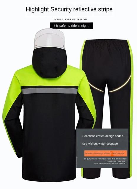 Adult Motorcycle Raincoat Rain Pants Suit Men Waterproof Rain Coat Jacket Split Mens Sports Suits Casaco Masculino Rain Gear 4
