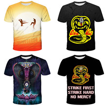 T-shirts de manga curta t-shirts t-shirts preto crianças t-shirts camisa de manga curta cobra kai t meninos greve primeira greve duro sem misericórdia