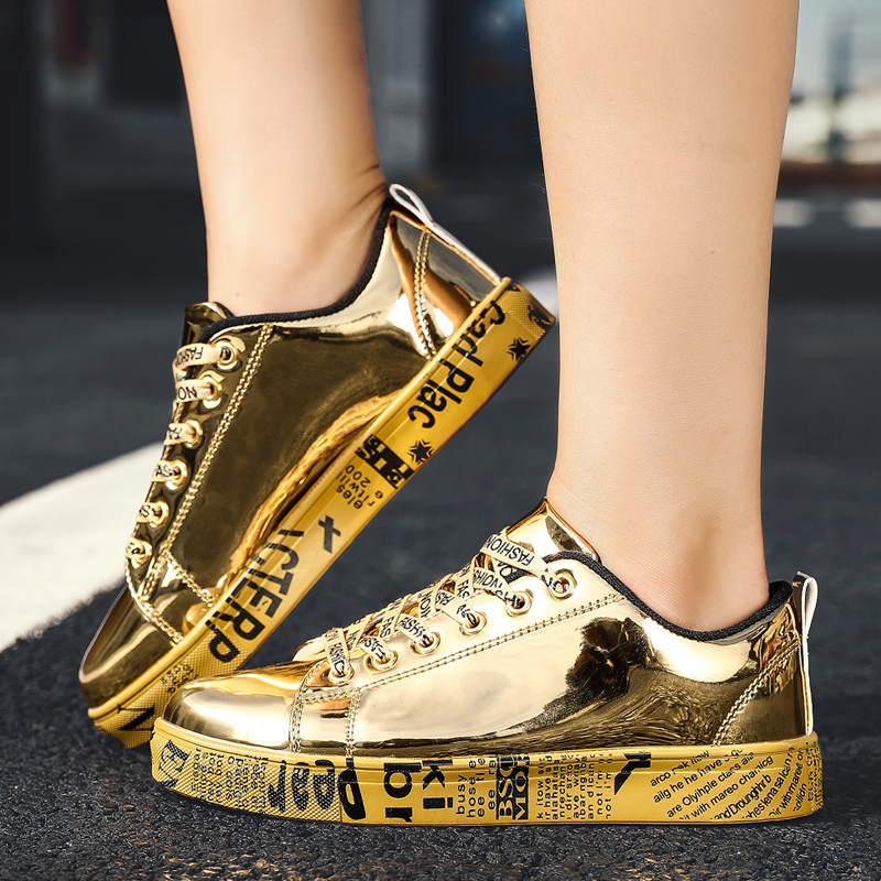 Unisex Gold Silver Fashion Shoes New Stylish Male Trendy Sneakers Platform Flats Leisure Shoes For Men Big Size EU36-46 Footwear