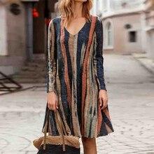 Otoño mujer Retro cuello redondo manga larga Casual Swing vestidos sueltos rayados Mini vestidos