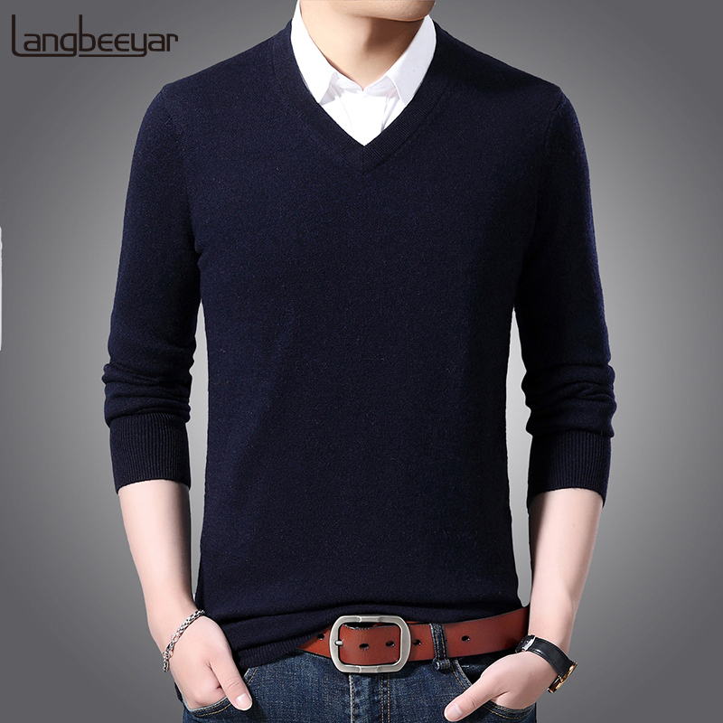 2019 New Fashion Brand Sweater For Mens Pullovers V Neck Slim Fit  Jumpers Knitwear Solid Color Autumn Casual Clothing Male