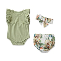 Newborn Infant Baby Girls Clothes Ruffle Sleeve Romper Floral Shorts Headband 3PCS Outfit Sets