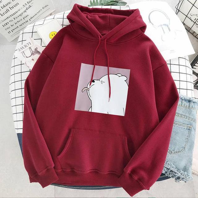 Hoodies oversized print Kangaroo Pocket Sweatshirts Hooded Harajuku winter Casual Vintage Korean Pullovers Women sweatshirts 4