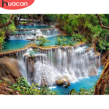 HUACAN Diamond Painting Waterfall Full Square Stones Home Decoration Landscape Embroidery Scenery Mosaic Beaded Picture - discount item  40% OFF Arts,Crafts & Sewing