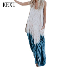 KEXU Vintage Loose Long Maxi Dress Colorful Tie-dye Sling V-neck Sexy Summer Elegant Sleeveless Hollow Out Retro Robe