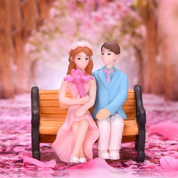 ZOCDOU 3 Pieces Romantic Lover Doll Parks Dating Couple Wedding Ornament Small Statue Little Figurine Crafts Home Decoration image