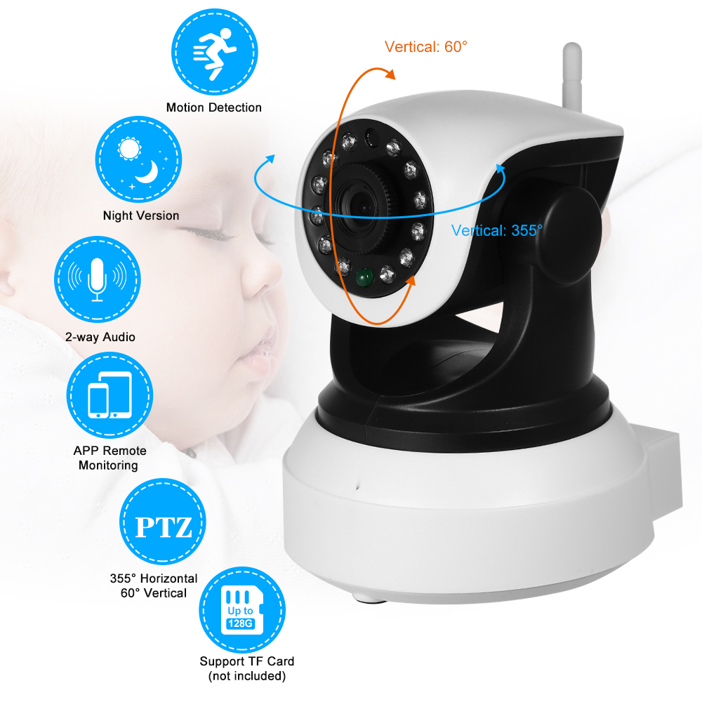 HD 1080P Wireless WiFi IP Camera Baby Monitor Support PTZ TF Card Record Motion Detection Alarm Browser View for CCTV System image