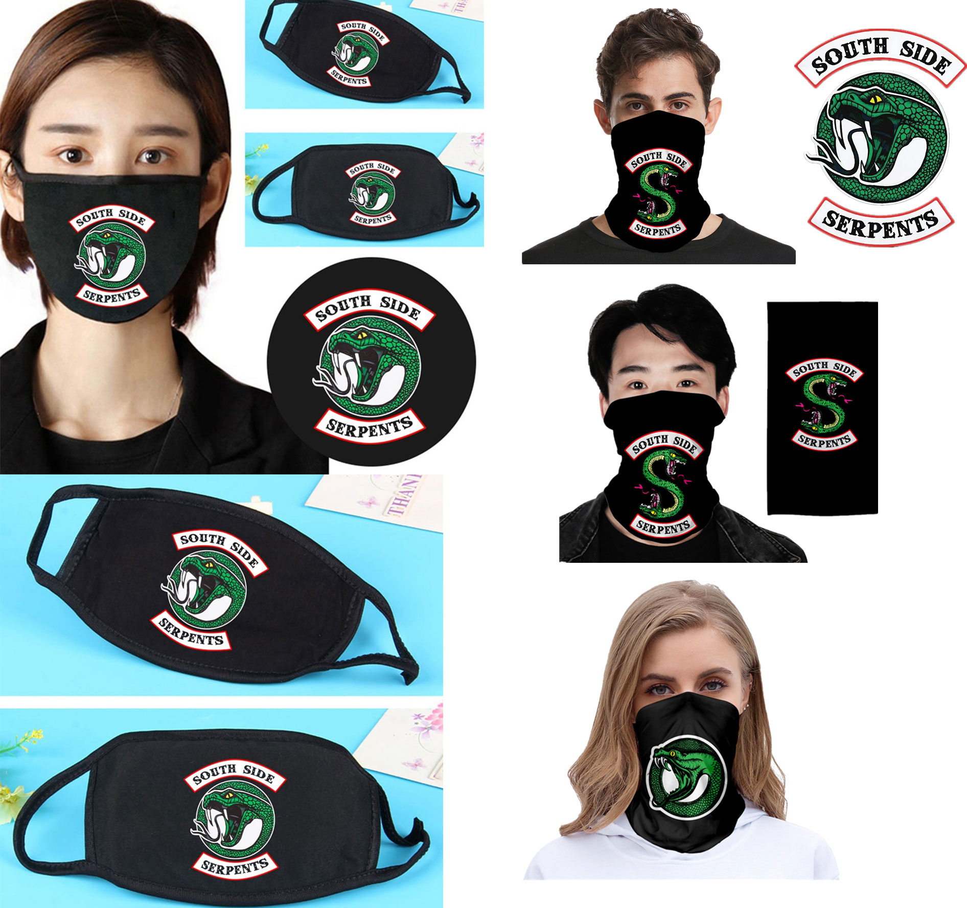 Riverdale South Side Serpents Multi-function All-match Men Magic Headscarf Mask Magicial Adult Harajuku 3D Print Magic Turban