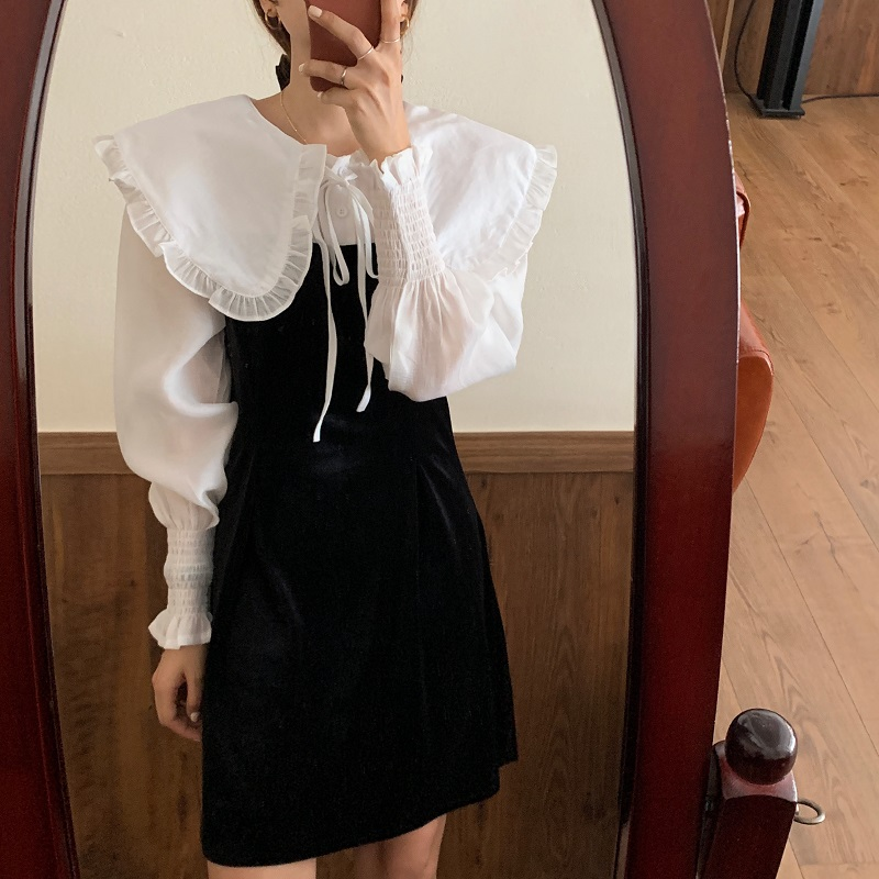 Hc8b01e54d2da40a8b527e7893481cd65v - Autumn / Winter Puritan Collar Long Sleeves Velvet Stitching Dress