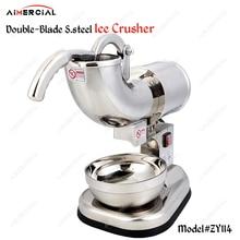 ZY114 commercial electric double-blade ice crusher S. steel smoothies shaver DIY ice cream maker ice making machine 180KG/H цена в Москве и Питере
