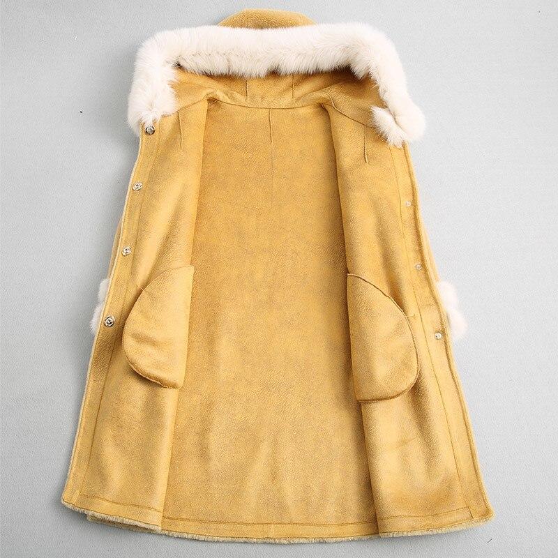 Fur Wool Real Coat Sheep Shearing Jackets Natural Fox Fur Collar Hooded Long Winter Jacket Women Mink Cuff 18174 WYQ
