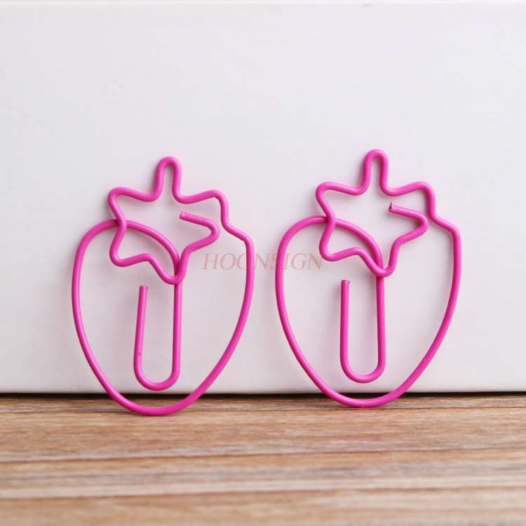 10pcs Strawberry Paper Clip Pin Simple Paper Clip Small Paper Clip Closed Needle Decoration
