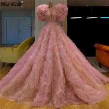 Alla moda A File Abiti da ballo Per Matrimoni Rosa di Tulle Turco Islamico Robe De Soiree 2019 Abiti Del Partito Lungo Dubai Abito Da Sera