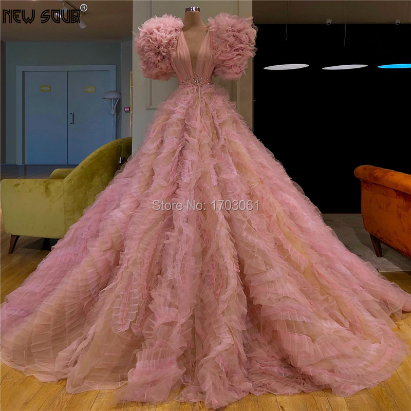 Fashionable Tiered Prom Dresses For Weddings Pink Tulle Turkish Islamic Robe De Soiree 2019 Party Gowns Dubai Long Evening Dress