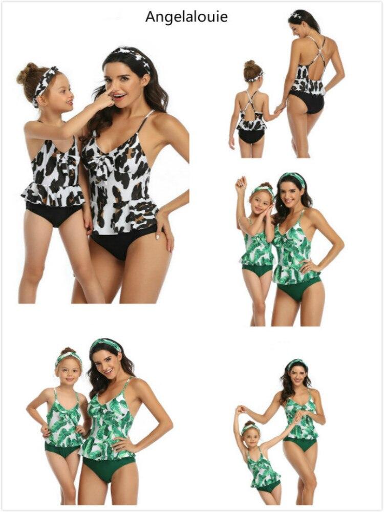 2019 подходящие купальники для мамы и дочки, двойной купальник с принтом в виде листьев лотоса для родителей и детей, одинаковые купальные костюмы для семьи