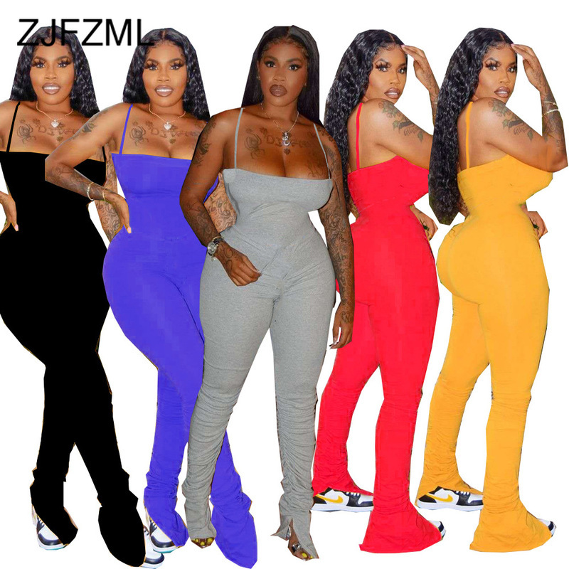 Spaghetti Strap Sexy Bodycon Stacked Jumpsuit Women Strapless Split Hem Ruched Leggings Summer Sleeveless Open Back Club Outfits