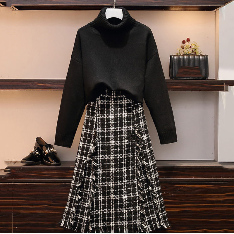 2019 Fashion Autumn Winter Turtlneck Jumper + Tweed Tassel Skirt 2pcs Sets Knitted Pullover Sweater + Midi Skirt Two Piece Sets
