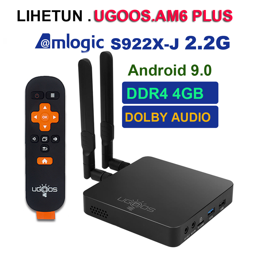 UGOOS AM6 PLUS Android 9.0 TV Box Amlogic S922X-J 2.2GHz 4GB DDR4 32GB 2.4G 5G WiFi 1000M Bluetooth 4K Dolby Audio Set Top Box