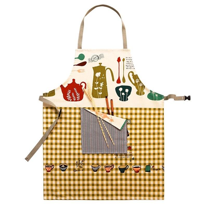 Горячая Распродажа, женские Кухонные фартуки для приготовления пищи, рабочая одежда, милые безрукавные фартуки для ресторана, повара, фартуки, униформа официанта с карманом - Цвет: style 1