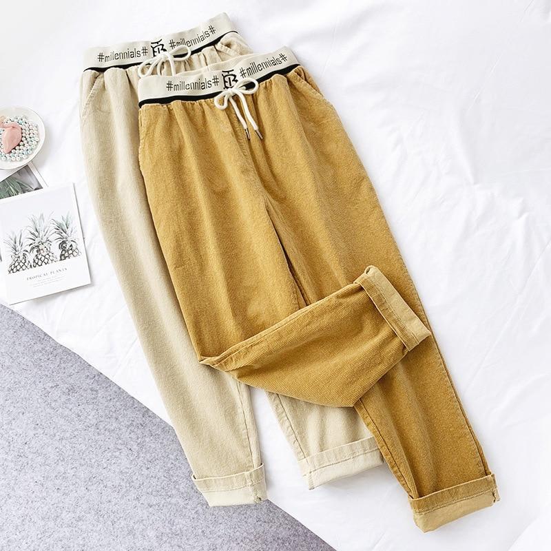 Wasteheart Autumn Winter Yellow Women Fashion Long Pants Harem High Waist Female Casual Plus Size Sashes Corduroy