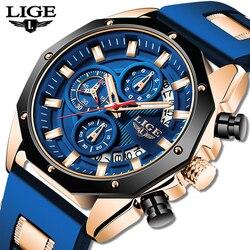 2020 LIGE New Fashion Mens Watches Top Brand Luxury Silicone Sport Watch Men Quartz Date Clock Waterproof Wristwatch Chronograph