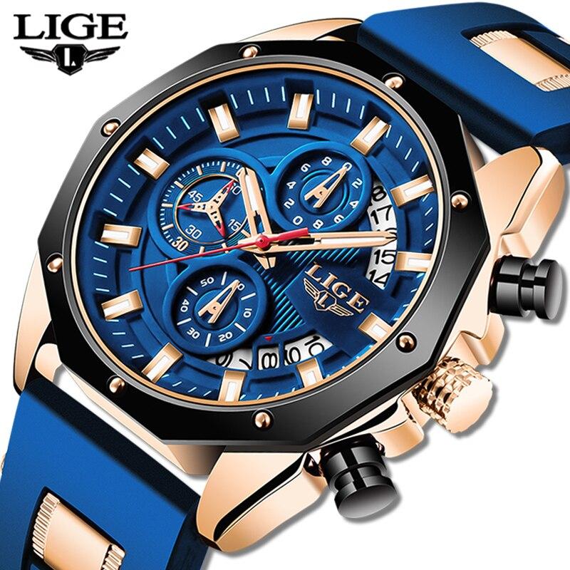 2020 LIGE New Fashion Mens Watches Top Brand Luxury Silicone Sport Watch Men Quartz Date Clock Waterproof Wristwatch Chronograph(China)