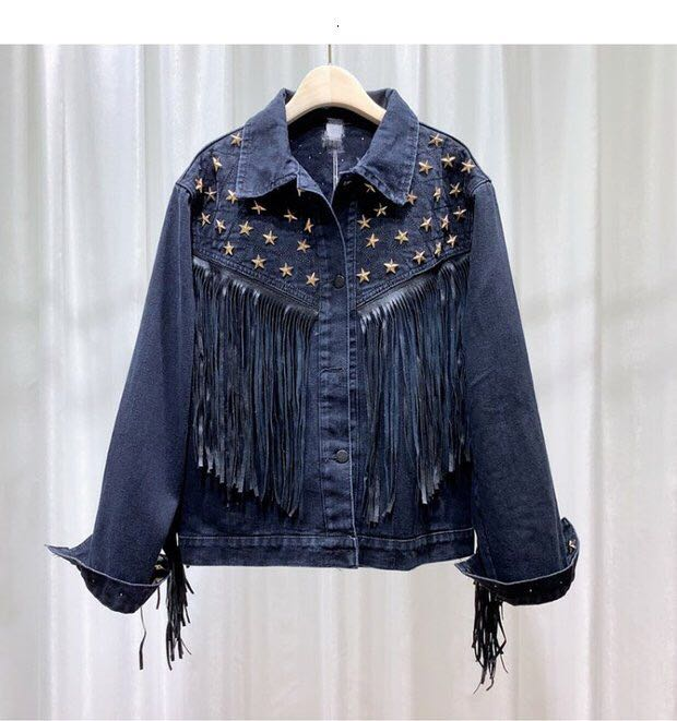 Giacca di jeans delle donne di nuovo stile di autunno del cappotto del rivestimento delle donne dell'annata stella rivetto in pelle scamosciata con frange cappotto manica lunga tuta sportiva delle donne di boho