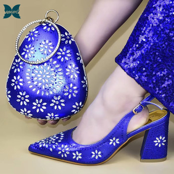 Wedding Shoe and Bag Set Women Shoes and Bag Set In Italy Design Italian Shoe with Matching Bag Set Decorated with Stone