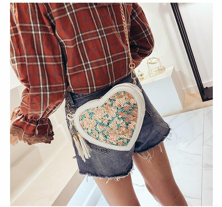 Heart shape PU Handbags Fashion Designer Sequin Crossbody Bag for Women High Quality Casual Flap Female Pink Messenger Bags