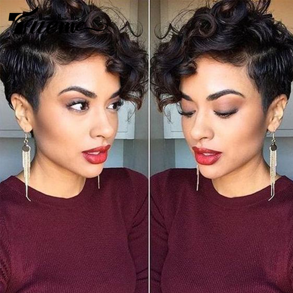 Trueme Natural Dream Curly Short Human Hair Wigs Ombre Remy Hair Wigs For Black Women Brazilian Hair Full Wigs Moms Gifts