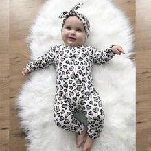 2Pcs Neugeborenen Baby Mädchen Kleidung Set Baumwolle Herzen Print Infant Langarm Overall + Stirnband Kleinkind Mädchen Kleidung