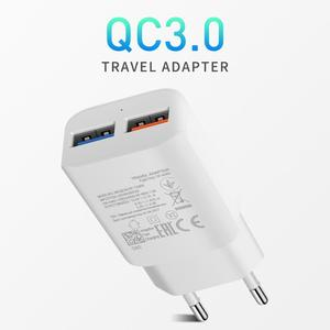 QC 3.0 Dual USB Charger Adapter EU/US Plug 25W max Travel Wall Quick Charge 3.0 Charger 2 USB ports Fast charging For cell phone