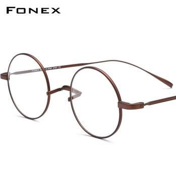 FONEX tytanowa ramka do okularów mężczyźni Ultralight okrągłe krótkowzroczność okulary korekcyjne optyczne ramki kobiety w stylu Vintage okulary 9120 tanie i dobre opinie Tytanu CN (pochodzenie) Stałe 9120 2019 New Arrival Ultra Light Ukraine Korean Korea Eye Glasses FRAMES Okulary akcesoria