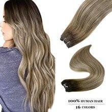 Ugeat extensões de trama de cabelo balayage cor costurar em extensões de cabelo humano para mulheres 14-22