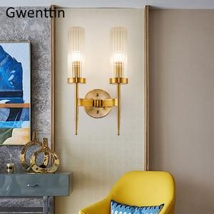 Image 2 - מודרני זהב קיר מנורת Led נורדי מראה קיר אור גופי זכוכית פמוט לסלון חדר שינה בית לופט תעשייתי דקור e27