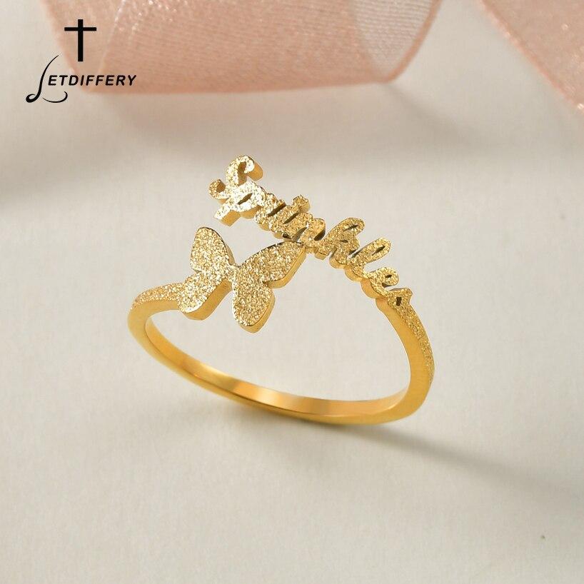 Индивидуальные Кольца для женщин с изображением матовой бабочки, золотые украшения из нержавеющей стали, для свадьбы