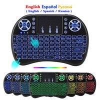 Inglês espanhol hebrew francês mini 2.4ghz sem fio teclado i8 touchpad retroiluminado i8 teclado para android tv caixa ps3 pc