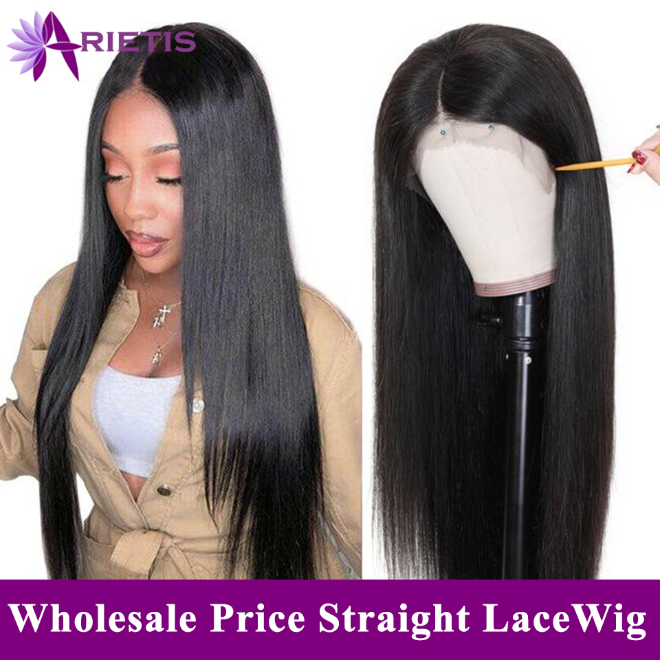 Arietis Hair Brazilian Glueless Straight Hair Wig Pre-Plucked With Baby Hair 150% Density Remy Hair Lace Front Human Hair Wig