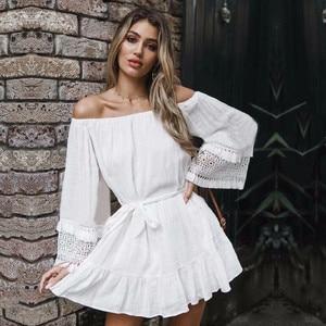 Image 1 - כיסוי קופצים 2020 לבן כותנה טוניקת קיץ טוניקה לנשים וחוף בגד ים לכסות את חוף אישה סרונג palge # Q745