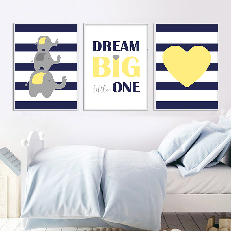 Children Poster Navy Blue Yellow Minimalist Wall Art Canvas Print Painting Decorative Picture Nordic Kid Baby Bedroom Decoration