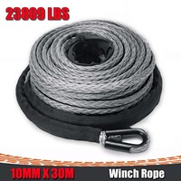 10mm*30m Winch Rope Towing Rope ATV UTV High Strength Synthetic Winch Line Cable Rope Tow Cord With Sheath Gray for 4x4 Offroad