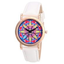 Hot fashion creative watches women quartz watch unique dial design mandala watch leather unisex wristwatches clock montres fashion creative quartz watch personality minimalist leather normal led watch men women unisex wristwatches couple clock lz2209