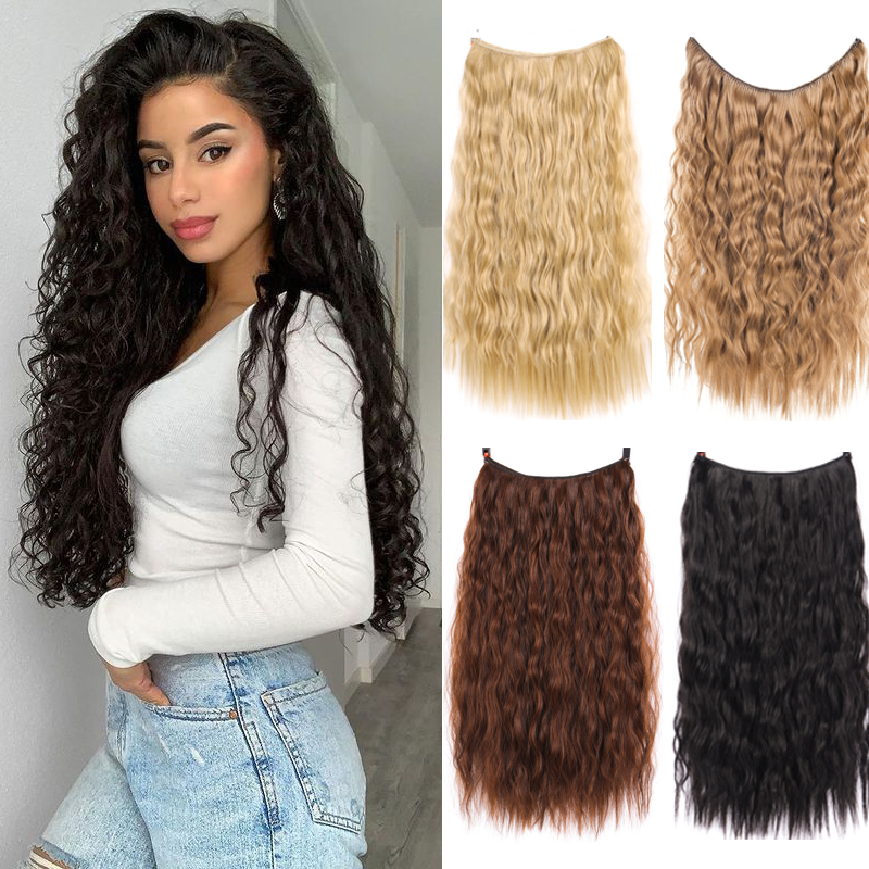 LVHAN, Женские синтетические волосы, U-образные невидимые бесшовные длинные вьющиеся волосы, прямые волосы, парик и головной убор