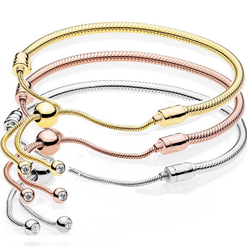 New 925 Sterling Silver Bracelet Rose Gold & Silver Moments Sliding Clasp Adjust Bracelet Bangle Fit Bead Charm Fine Jewelry
