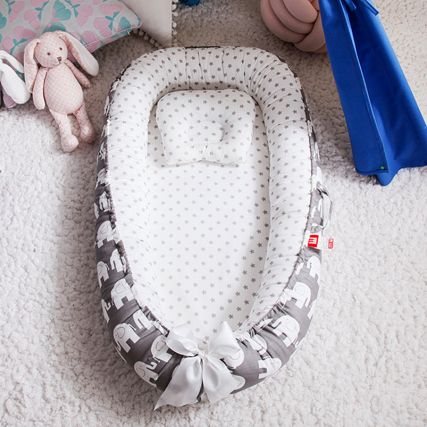 Portable Baby Nest With Pillow Cushion Newborn Bed For Boys Girls Travel Bed Infant Cotton Crib Baby Bassinet Bumper