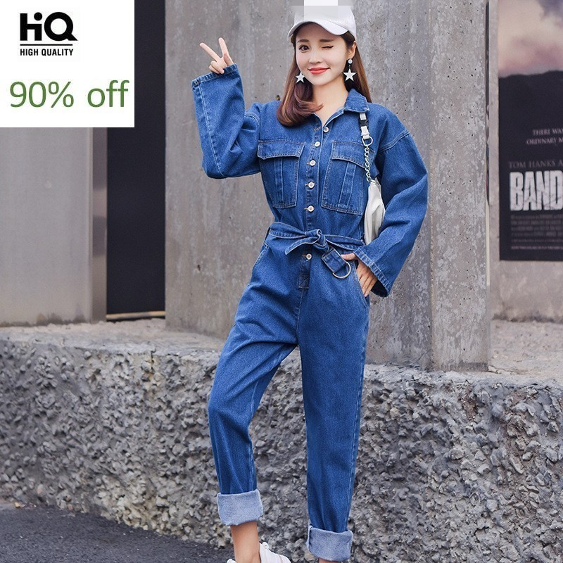 Women Long Sleeves Solid Color Single-breasted Tassels Jeans Jumpsuits Rompers