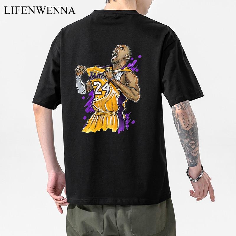 LIFENWENNA Summer Men's T Shirt New Fashion Kobe Bryant T Shirt Men Casual Hip Hop Top Tees Male Cotton Loose Streetwears M-5XL